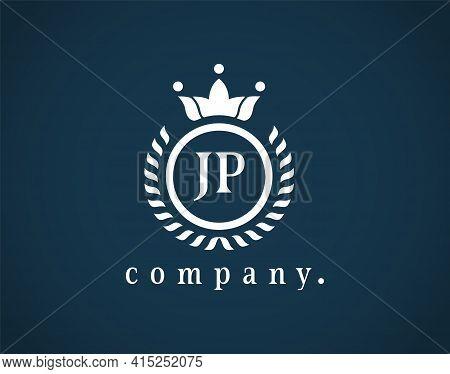 Letter Jp, J Or P Elegant Crown Emblem. Beautiful Calligraphy Laurel Wreath Crown Monogram. Royal St