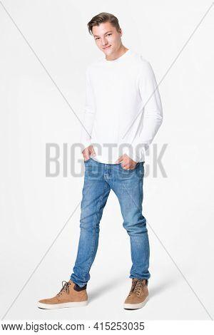 White long sleeve t-shirt men's basic wear full body