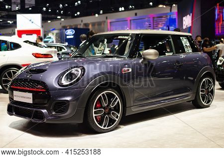 Nonthaburi, Thailand - March 25,2021 : View Of Mini Jcw Gp Inspired Edition Gray Color On Display At