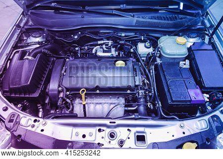 Novosibirsk, Russia - April 01 2021: Opel Astra, Car Engine Close-up. Internal Combustion Engine, Ca