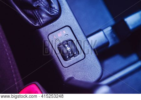 Novosibirsk, Russia - April 01 2021: Opel Astra, Close Up Shot Of Car Seat Heating Control Panel Und