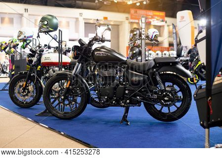 Nonthaburi, Thailand - March 25,2021 : View Of Royal Enfield Meteor 350 On Display At Thailand Inter