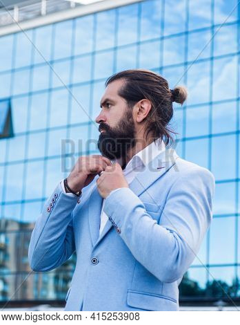 Pure Mens Beauty. Confident And Handsome Guy. Businessman. Brutal Bearded Man