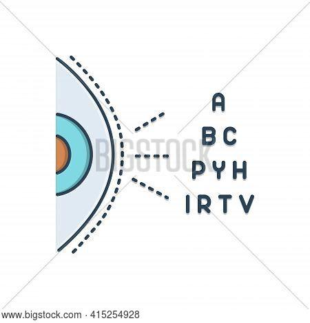 Color Illustration Icon For Optometry Eye Eyesight Myopia Retina