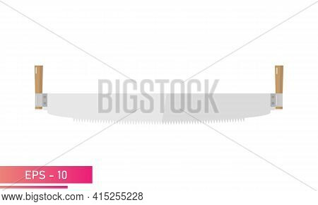 A Woodcutters Hand Saw. Realistic Design. On A White Background. Tools For The Woodcutter. Flat Vect