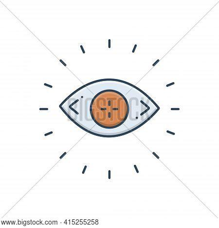 Color Illustration Icon For Optometry Optician Eye Eyesight Lens