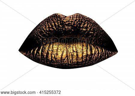 Golden Lips Closeup. Gold Metal Lip. Beautiful Makeup. Golden Lip Gloss On Beauty Female Mouth, Clos