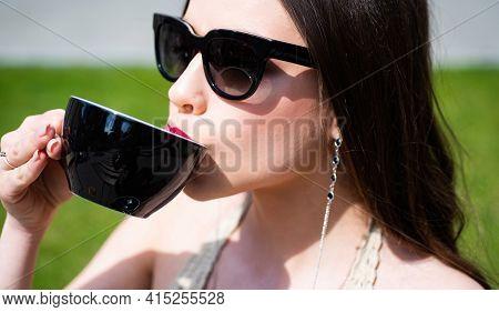 Fashion Woman Drinking Coffee Outdoor. Americano Cappuccino Latte Espressofashion Woman Drinking Cof