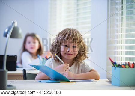 Elementary School Kids In Classroom. Schoolboy And Schoolgirl. Happy Little Students