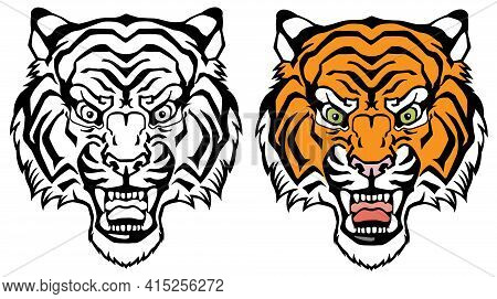 Head Of A Roaring Tiger. Angry Big Cat. Front View. Colour And Black White Tattoo Style Vector Illus