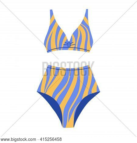 Female Two-piece Swimsuit With A Striped Print. Modern Fashion Stylish Swimsuit. Vector Flat Cartoon