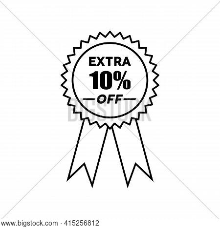 Simple Icons Get Extra 10 Percent Off With Circle Ribbon. Get Extra Offer Labels Sign. Special Offer