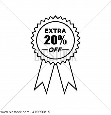 Simple Icons Get Extra 20 Percent Off With Circle Ribbon. Get Extra Offer Labels Sign. Special Offer