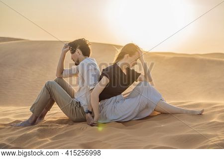 Relationship Problems Between A Couple - A Man And A Woman. Family Conflict. Man And Woman Have A He