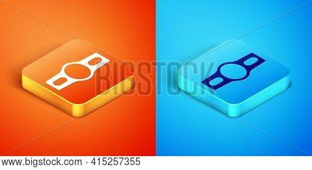Isometric Boxing Belt Icon Isolated On Orange And Blue Background. Belt Boxing Sport Championship Wi