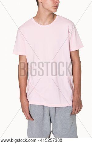 Pink basic t-shirt for boy teen's apparel studio shoot