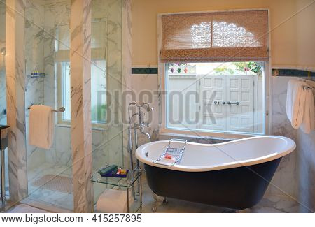 UDAIPUR, INDIA - JANUARY 21, 2017: Bathroom at the Oberoi Udaivilas Hotel. Located on the bank of Lake Pichola the hotel has over fifty acres, which includes a twenty-acre wildlife sanctuary.