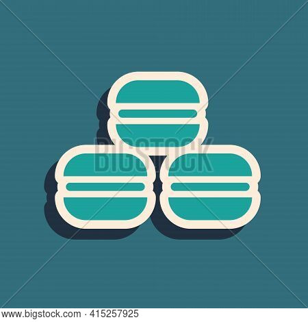 Green Macaron Cookie Icon Isolated On Green Background. Macaroon Sweet Bakery. Long Shadow Style. Ve