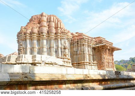 UDAIPUR, INDIA - JANUARY 14, 2017: Sas Bahu Temple. The remains, also known as, the Sahastra Bahu temples of the early 10th century AD are dedicated to Vishnu.