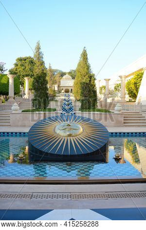 UDAIPUR, INDIA - JANUARY 21, 2017: Sundial at the Oberoi Udaivilas Hotel. Located on the bank of Lake Pichola the hotel has over fifty acres, which includes a twenty-acre wildlife sanctuary.