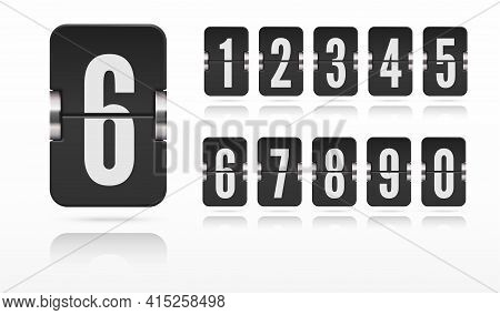 Set Of Flip Score Board Numbers Floating With Reflections For Countdown Timer Or Calendar. Vector Te