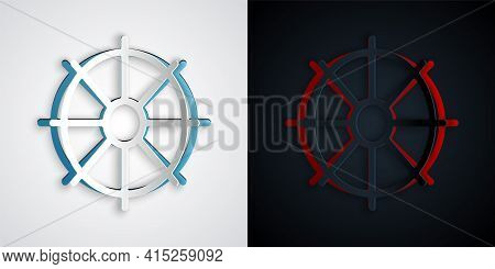 Paper Cut Dharma Wheel Icon Isolated On Grey And Black Background. Buddhism Religion Sign. Dharmacha