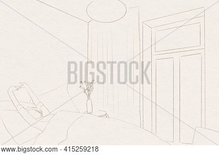 Wake up background simple line drawing