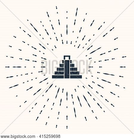 Grey Chichen Itza In Mayan Icon Isolated On Beige Background. Ancient Mayan Pyramid. Famous Monument
