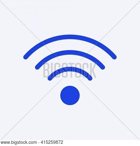 Wireless internet blue icon for social media app flat style