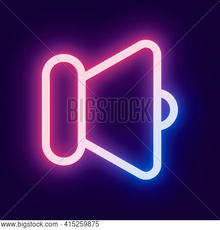 Speaker volume pink icon for social media neon style