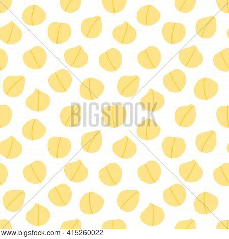 Chickpeas, Chick Pea Seeds Vector Seamless Pattern Background For Healthy Vegan Food Design.
