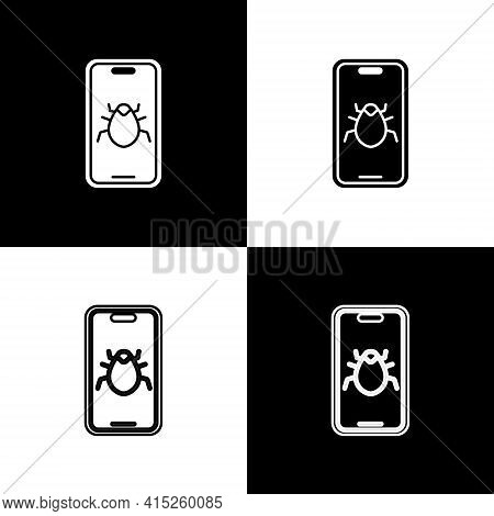 Set System Bug On Mobile Icon Isolated On Black And White Background. Code Bug Concept. Bug In The S
