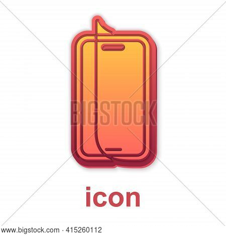 Gold Glass Screen Protector For Smartphone Icon Isolated On White Background. Protective Film For Gl