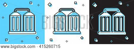 Set Granary Icon Isolated On Blue And White, Black Background. Silo With Grain, Elevator, Granary, F