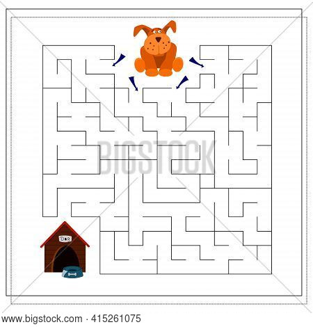 A Maze Game For Kids. Guide Your Dog Through The Maze To The Bowl Booth. Vector Isolated On A White