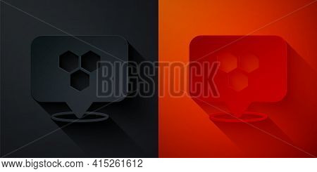 Paper Cut Honeycomb Bee Location Map Pin Pointer Icon Isolated On Black And Red Background. Farm Ani