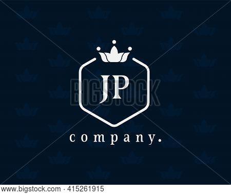 Letter Jp, J Or P Royal Crown Logo Design Template Elements. Elegant Crest Logo Icon Vector Design.