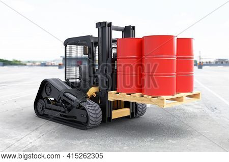 The Forklift Truck Is Lifting Oil Barrels On White Background. 3d Illustration