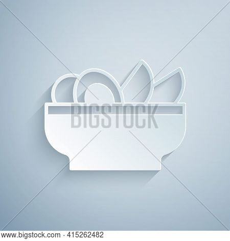 Paper Cut Nachos In Plate Icon Isolated On Grey Background. Tortilla Chips Or Nachos Tortillas. Trad