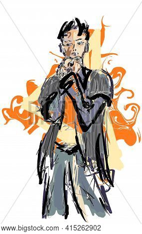 Abstract Man Hand Drawn Eps10 Vector Illustration.