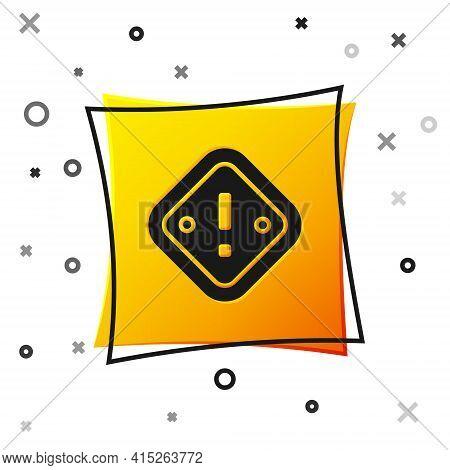 Black Exclamation Mark In Triangle Icon Isolated On White Background. Hazard Warning Sign, Careful,