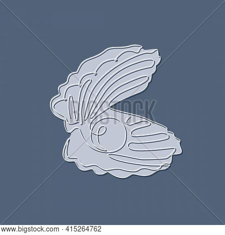 Open Seashell With Pearl. Continuous One Line Drawing Of An Oyster Mollusk. Modern Minimalist Badge