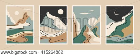 Contemporary Art Print With Southern Landscape. Mediterranean, North Africa. Line Art. Modern Vector