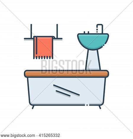 Color Illustration Icon For Bathroom-appliances Bathroom Appliances Plumbing Towel