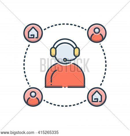 Color Illustration Icon For Customer-support  Customer Support  Helpline Callcenter Property Real-es