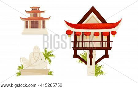 Vietnam Country Landmarks With Pagoda And Buddha Statue Vector Set