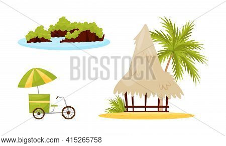 Vietnam Country Landmarks With Bungalow With Straw Roof And Bike Vector Set