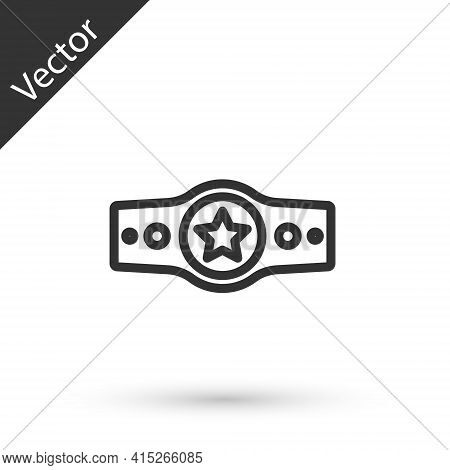 Grey Line Boxing Belt Icon Isolated On White Background. Belt Boxing Sport Championship Winner Fight