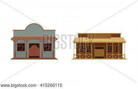 Western Two-storey Saloon Or Bar Having Batwing Doors Vector Set