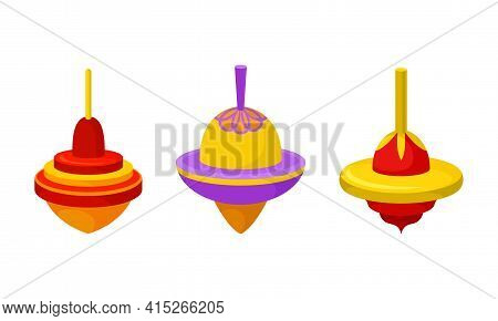 Bright Humming Top Or Spinning Top As Squat Toy With Sharp Point At The Bottom Vector Set